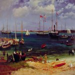 Albert Bierstadt (1830-1902)  Nassau Harbor  Oil on paper mounted on board, c.1877  14 3/4 x 20 inches (37.5 x 50.8 cm)  The Fine Arts Museums of San Francisco
